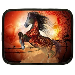 Awesome Creepy Running Horse With Skulls Netbook Case (large) by FantasyWorld7