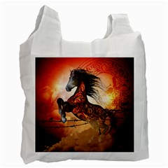 Awesome Creepy Running Horse With Skulls Recycle Bag (one Side) by FantasyWorld7