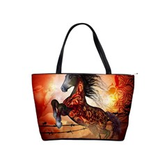 Awesome Creepy Running Horse With Skulls Shoulder Handbags by FantasyWorld7