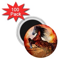 Awesome Creepy Running Horse With Skulls 1 75  Magnets (100 Pack)  by FantasyWorld7