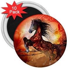 Awesome Creepy Running Horse With Skulls 3  Magnets (10 Pack)