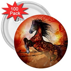 Awesome Creepy Running Horse With Skulls 3  Buttons (100 Pack)  by FantasyWorld7