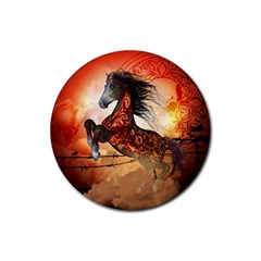 Awesome Creepy Running Horse With Skulls Rubber Coaster (round)  by FantasyWorld7