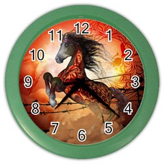 Awesome Creepy Running Horse With Skulls Color Wall Clocks by FantasyWorld7