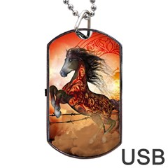 Awesome Creepy Running Horse With Skulls Dog Tag Usb Flash (two Sides) by FantasyWorld7
