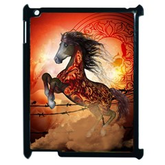 Awesome Creepy Running Horse With Skulls Apple Ipad 2 Case (black) by FantasyWorld7
