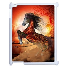 Awesome Creepy Running Horse With Skulls Apple Ipad 2 Case (white) by FantasyWorld7