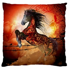 Awesome Creepy Running Horse With Skulls Large Cushion Case (one Side) by FantasyWorld7
