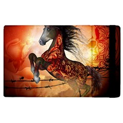 Awesome Creepy Running Horse With Skulls Apple Ipad 2 Flip Case by FantasyWorld7