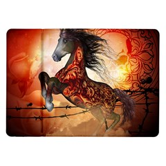 Awesome Creepy Running Horse With Skulls Samsung Galaxy Tab 10 1  P7500 Flip Case by FantasyWorld7