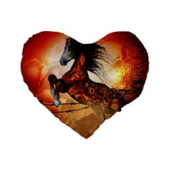Awesome Creepy Running Horse With Skulls Standard 16  Premium Flano Heart Shape Cushions by FantasyWorld7
