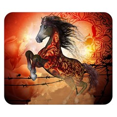 Awesome Creepy Running Horse With Skulls Double Sided Flano Blanket (small)  by FantasyWorld7