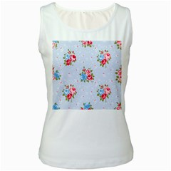 Cute Shabby Chic Floral Pattern Women s White Tank Top