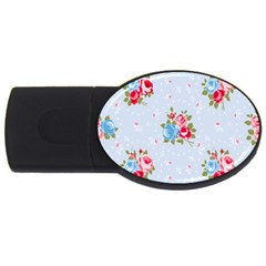 Cute Shabby Chic Floral Pattern Usb Flash Drive Oval (2 Gb) by 8fugoso