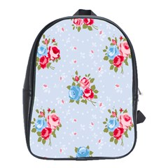 Cute Shabby Chic Floral Pattern School Bag (large) by 8fugoso