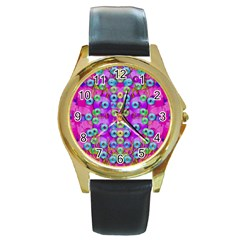 Festive Metal And Gold In Pop Art Round Gold Metal Watch by pepitasart