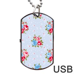 Cute Shabby Chic Floral Pattern Dog Tag Usb Flash (two Sides) by 8fugoso