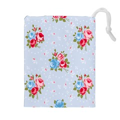 Cute Shabby Chic Floral Pattern Drawstring Pouches (extra Large) by 8fugoso