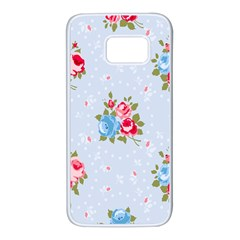 Cute Shabby Chic Floral Pattern Samsung Galaxy S7 White Seamless Case by 8fugoso