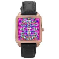Festive Metal And Gold In Pop Art Rose Gold Leather Watch  by pepitasart