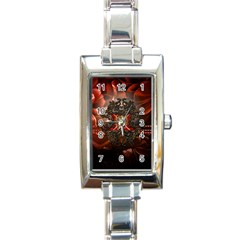 Wonderful Floral Design With Diamond Rectangle Italian Charm Watch by FantasyWorld7