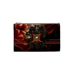 Wonderful Floral Design With Diamond Cosmetic Bag (small)  by FantasyWorld7