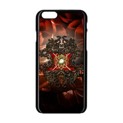 Wonderful Floral Design With Diamond Apple Iphone 6/6s Black Enamel Case by FantasyWorld7