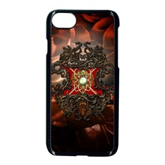 Wonderful Floral Design With Diamond Apple Iphone 7 Seamless Case (black) by FantasyWorld7