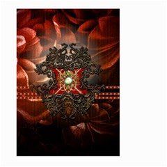 Wonderful Floral Design With Diamond Large Garden Flag (two Sides) by FantasyWorld7