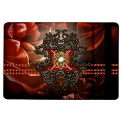 Wonderful Floral Design With Diamond Ipad Air Flip by FantasyWorld7
