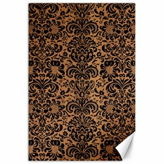 Damask2 Black Marble & Light Maple Wood (r) Canvas 20  X 30   by trendistuff