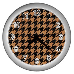 Houndstooth1 Black Marble & Light Maple Wood Wall Clocks (silver)  by trendistuff