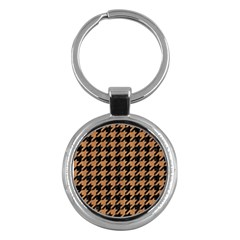 Houndstooth1 Black Marble & Light Maple Wood Key Chains (round)  by trendistuff
