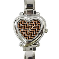 Houndstooth1 Black Marble & Light Maple Wood Heart Italian Charm Watch by trendistuff
