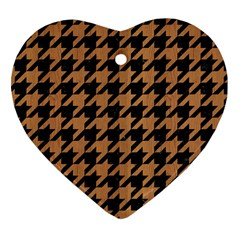 Houndstooth1 Black Marble & Light Maple Wood Heart Ornament (two Sides) by trendistuff