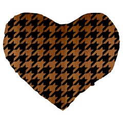 Houndstooth1 Black Marble & Light Maple Wood Large 19  Premium Flano Heart Shape Cushions by trendistuff