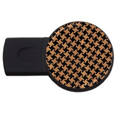 Houndstooth2 Black Marble & Light Maple Wood Usb Flash Drive Round (2 Gb) by trendistuff