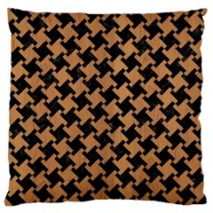 Houndstooth2 Black Marble & Light Maple Wood Large Cushion Case (two Sides) by trendistuff