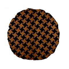 Houndstooth2 Black Marble & Light Maple Wood Standard 15  Premium Round Cushions by trendistuff