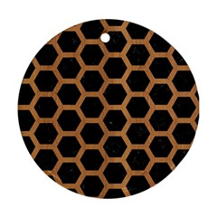 Hexagon2 Black Marble & Light Maple Wood Ornament (round) by trendistuff