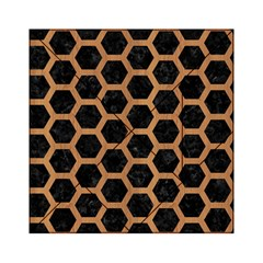 Hexagon2 Black Marble & Light Maple Wood Acrylic Tangram Puzzle (6  X 6 ) by trendistuff