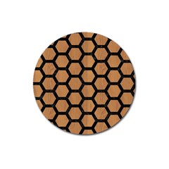 Hexagon2 Black Marble & Light Maple Wood (r) Magnet 3  (round) by trendistuff