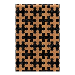Puzzle1 Black Marble & Light Maple Wood Shower Curtain 48  X 72  (small)  by trendistuff