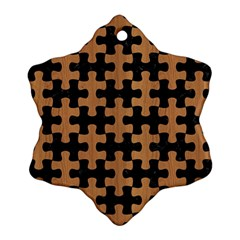 Puzzle1 Black Marble & Light Maple Wood Snowflake Ornament (two Sides) by trendistuff