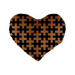 Puzzle1 Black Marble & Light Maple Wood Standard 16  Premium Flano Heart Shape Cushions by trendistuff