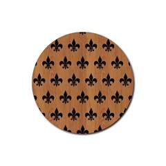 Royal1 Black Marble & Light Maple Wood Rubber Round Coaster (4 Pack)  by trendistuff
