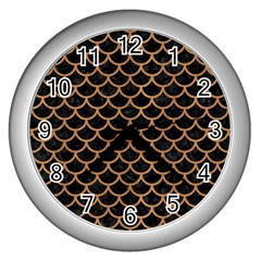 Scales1 Black Marble & Light Maple Wood Wall Clocks (silver)  by trendistuff