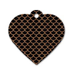 Scales1 Black Marble & Light Maple Wood Dog Tag Heart (one Side) by trendistuff