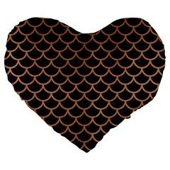 Scales1 Black Marble & Light Maple Wood Large 19  Premium Heart Shape Cushions by trendistuff