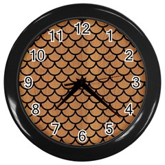 Scales1 Black Marble & Light Maple Wood (r) Wall Clocks (black) by trendistuff
